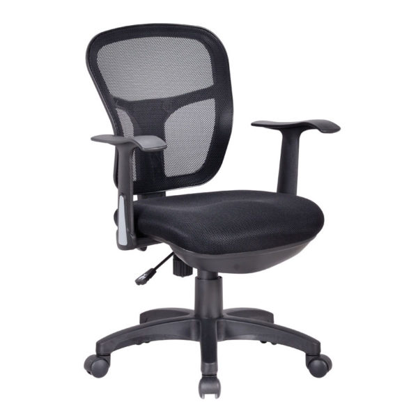 OF-137BK Drafting Office Chair Black Meshed Back