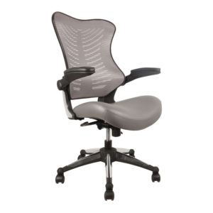 OF-2002GY Office Factor Gray Leather Seat Chair