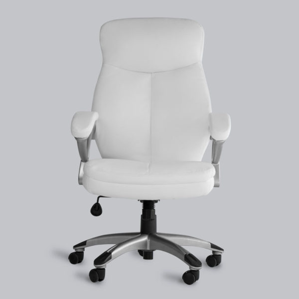 OF-1110WH White Leather Office Factor Chair