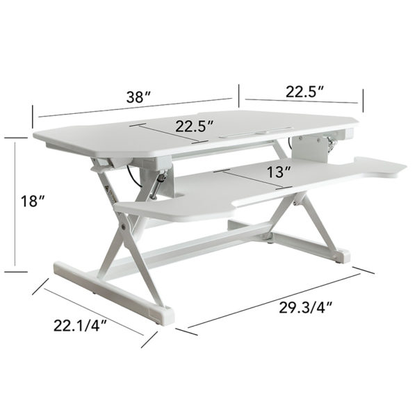 OF-TD30WH Office Factor White Adjustable Height Desk Measurements