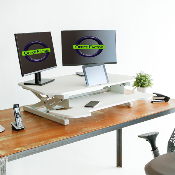 OF-TD30WH Office Factor White Adjustable Height Desk Setup